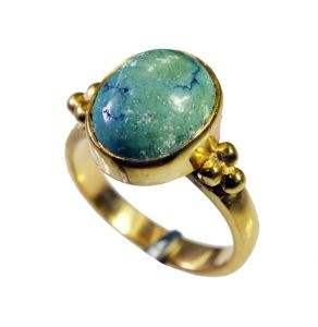 Riyo Turquoise 18.kt Y Gold Plated Sovereign Ring Sz 7 Gprtur7-82151