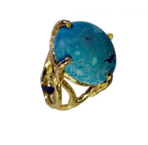 Riyo Turquoise 18-kt Y Gold Plated Beautiful Ring Sz 7.5 Gprtur7.5-82166