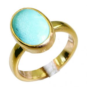 Riyo Turquoise 18.kt Y Gold Plating Classic Day Rings Sz 8 Gprtur8-82074