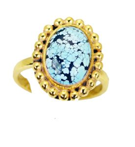 Riyo Turquoise 18-kt Y Gold Plating Sports Ring Sz 8 Gprtur8-82152