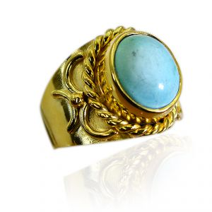 Riyo Turquoise 18-kt Gold Plated Engagement Ring Sz 8 Gprtur8-82207
