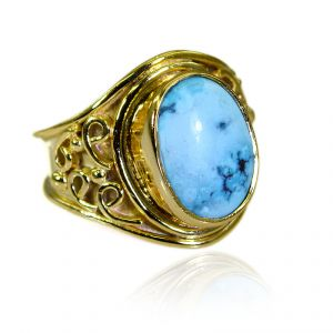 Riyo Turquoise 18c Gold Plating Friendship Ring Sz 8 Gprtur8-82208