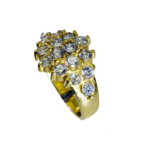 Riyo White Cz 18.kt Gold Plated Cocktail Ring Sz 8 Gprwhcz8-110029