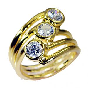 Riyo White Cz 18k Y Gold Plating Cameo Ring Sz 8.5 Gprwhcz8.5-110021