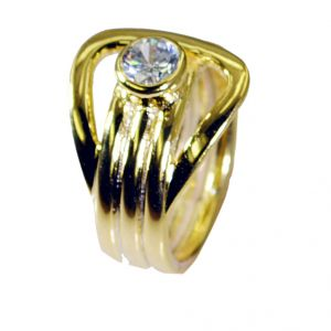 Riyo White Cz 18kt Gold Platings Ring Sz 8.5 Gprwhcz8.5-110022
