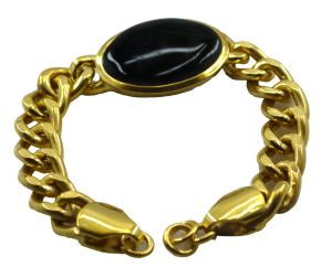 Riyo A Black Onyx Alloy 18kt Gold Plated Artisanal Bracelet Width 0.7 Inches (product Code - Mfbra-0033)