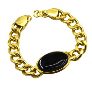 Riyo A Black Onyx Alloy 18kt Gold Plated Antique Bracelet Width 0.7 Inches (product Code - Mfbra-0034)