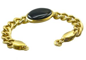 Riyo Blood Stone Alloy 18kt Gold Plated Artisan Bracelet Width 0.7 Inches (product Code - Mfbra-0035)