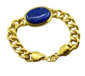 Riyo Blue Lapis Lazuli Alloy 18kt Gold Plated Getting Bracelet Width 0.7 Inches (product Code - Mfbra-0037)