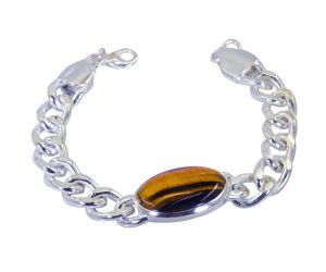 Riyo Brown Tiger Eye Alloy Silver Certified Bracelet Width 0.7 Inches (product Code - Mfbra-0045)