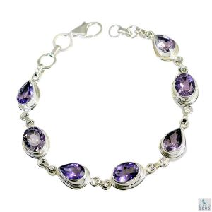 Riyo Amethyst Cheap Jewellery Sets Silver Bracelet Length 7.5 Inches - Product Code - (sbraame-2032)