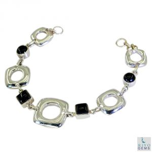 Riyo Black Onyx Contemporary Silver Cuff Bangle Bracelet Length 7.5 Inches - Product Code - (sbrabon-6012)
