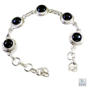 Riyo Black Onyx Cool Jewelry Silver Friendship Bracelet Length 7.5 Inches - Product Code - (sbrabon-6016)