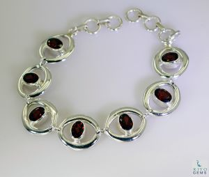 Riyo Garnet Cheap Jewellery Sets Silver Cuff Bangle Bracelet Length 7.5 Inches - Product Code - (sbragar-26030)