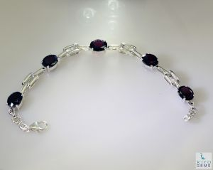 Riyo Garnet Custom Jewelry Twisted Silver Bracelet Length 7.5 Inches - Product Code - (sbragar-26051)