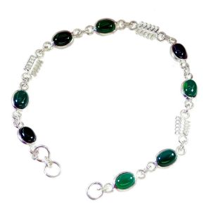Riyo Green Onyx Fashion Jewelry Wholesale Solid Silver Charm Bracelet Length 7.5 Inches - Product Code - (sbragon-30003)