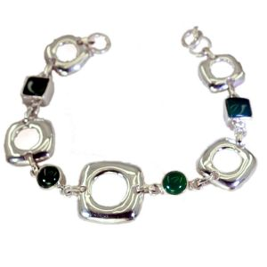 Riyo Green Onyx Filigree Jewelry Solid Silver Cuff Bracelet Length 7.5 Inches - Product Code - (sbragon-30004)