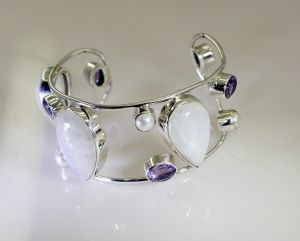 Bangles, Bracelets (Imititation) - Riyo Gemstone 925 Solid Sterling Silver Exotic Bracelet - Product Code - (SBRAMUL-52004)