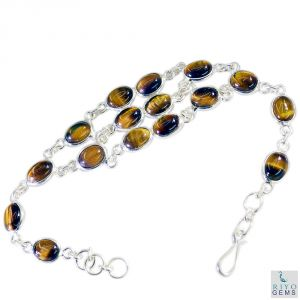 Riyo Tiger Eye Fine Jewellery Silver Wrap Bracelet Length 7.5 Inches - Product Code - (sbratey-80002)