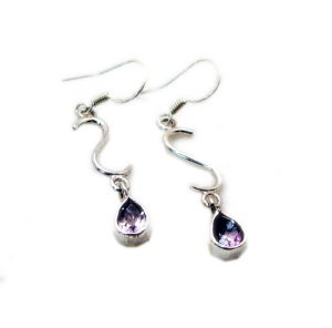 Riyo Amethyst Fashion Silver Jewelry Wedding Earring Length 1.5 Inches - Product Code - (seame-2046)