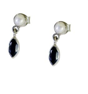 Riyo A Black Onyx 925 Solid Sterling Silver Hand Wrapped Earring Length 0.75 Inches - Product Code - (sebon-6051)