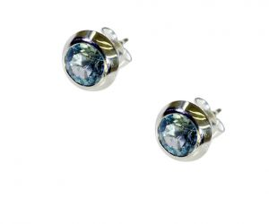 Riyo Blue Topaz Silver Initial Jewelry Earrings Length 0.2 Inches - Product Code - (sebto-10041)