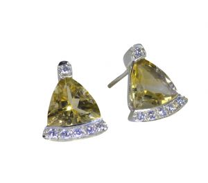 Riyo Golden Citrine 925 Solid Sterling Silver Original Earring Length 0.5 Inches - Product Code - (secit-14052)