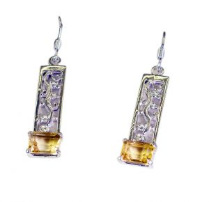 Riyo Golden Citrine 925 Solid Sterling Silver Professional Earring Length 1.25 Inches - Product Code - (secit-14062)