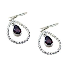 Riyo Garnet Silver Jewelry Supplies Wholesale Fashion Earrings Length 1.2 Inches - Product Code - (segar-26045)