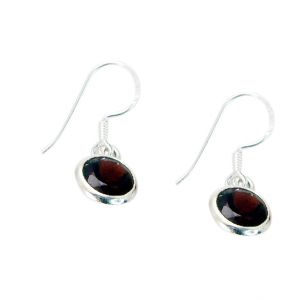 Riyo Garnet Silver Jewelry Women Ear Hook Earrings Length 1 Inches - Product Code - (segar-26056)