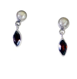 Riyo Red Garnet 925 Solid Sterling Silver Adorable Earring Length 0.5 Inches - Product Code - (segar-26149)
