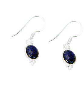 Riyo Lapis Lazuli Village Silver Jewelry Fashion Earrings Length 1 Inches - Product Code - (sella-44016)