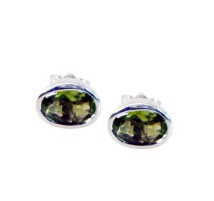 Riyo Peridot Brushed Silver Jewellery Party Wear Earring Length 0.2 Inches - Product Code - (seper-58007)