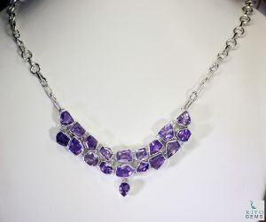 Riyo Amethyst Bridesmaid Jewellery Long Silver Chain Necklace Length 16 Inches - Product Code - (sname-2006)