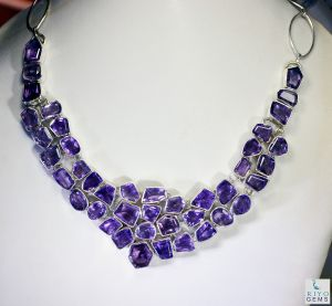 Riyo Amethyst Butterfly Jewellery Long Silver Necklace Length 16 Inches - Product Code - (sname-2007)