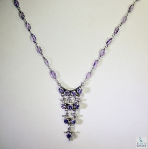 Riyo Amethyst Button Jewellery Long Silver Pendant Necklace Length 16 Inches - Product Code - (sname-2008)