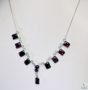 Riyo Garnet Real Jewellery Chunky Silver Chain Necklace _length 16inches (product Code - Sngar-26007)