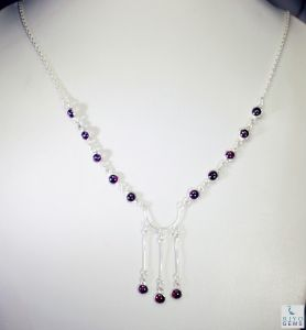 Riyo Garnet Real Jewelry Chunky Silver Necklace _length 16inches (product Code - Sngar-26008)