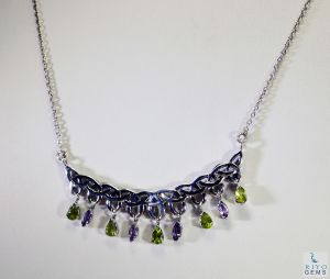 Riyo Gemstone Forest Jewelry Wholesale Silver Personalized Necklace _length 16inches (product Code - Snmul-52005)