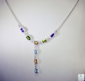 Riyo Gemstone Friendship Jewelry Small Silver Necklace _length 16inches (product Code - Snmul-52013)