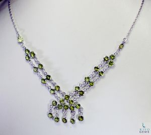 Riyo Peridot Art Jewelry Heavy Silver Chain Necklace _length 16inches (product Code - Snper-58002)