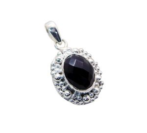 Riyo Black Onyx Silver Name Jewelry Sun And Moon Pendants _length 1.5 Inches (product Code - Spbon-6007)