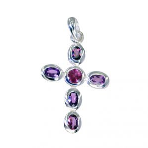 Riyo Garnet High Quality Silver Jewelry Floral Pendants L 1.7in (product Code - Spgar-26066)