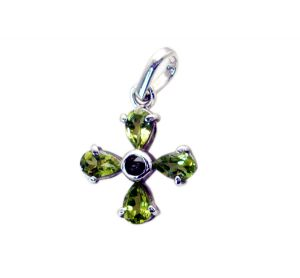 Riyo Peridot Silver Jewelry Women Silver Pentacle Pendant _length 0.7inches (product Code - Spper-58001)