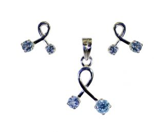 Riyo Blue Topaz Cz Hand Crafted Silver Pendant Set _length 0.7inches (product Code - Spsbto-10012)