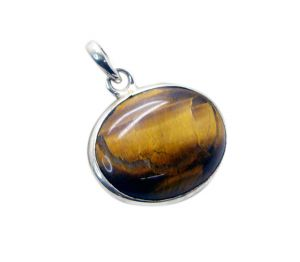 Riyo Tiger Eye Silver Costume Jewelry Casual Pendant _length 1 Inches (product Code - Sptey-80004)