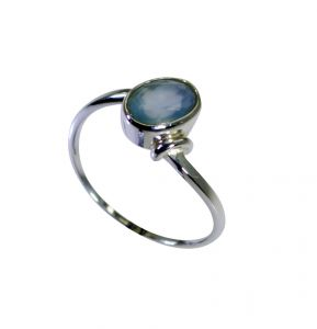 Riyo Aqua Chalcedony Silver Lady Jewellery Antique Silver Ring Sz 7 Srach7-4022