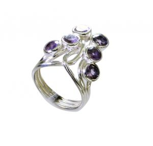Riyo Amethyst Customized Silver Jewelry Ladies Silver Ring Sz 6 Srame6-2175