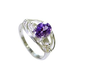 Riyo Amethyst Silver Jewellery Sets Purity Ring Jewelry Sz 7.5 Srame7.5-2153