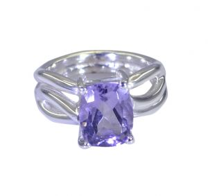 Riyo Purple Amethyst 925 Solid Sterling Silver Faceted Ring Srame80-2179